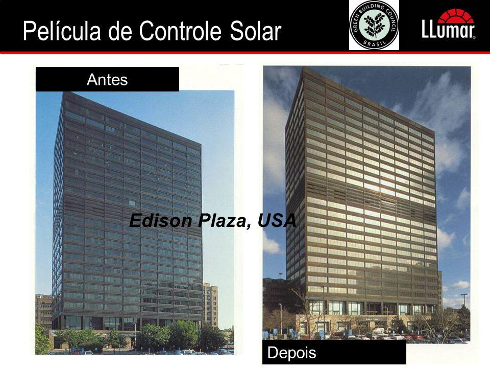 Antes Depois Edison Plaza, USA Película de Controle Solar