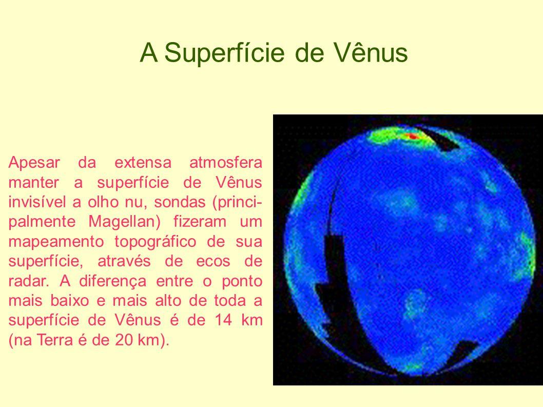 A Superfície de Vênus Apesar da extensa atmosfera manter a superfície de Vênus invisível a olho nu, sondas (princi- palmente Magellan) fizeram um mape