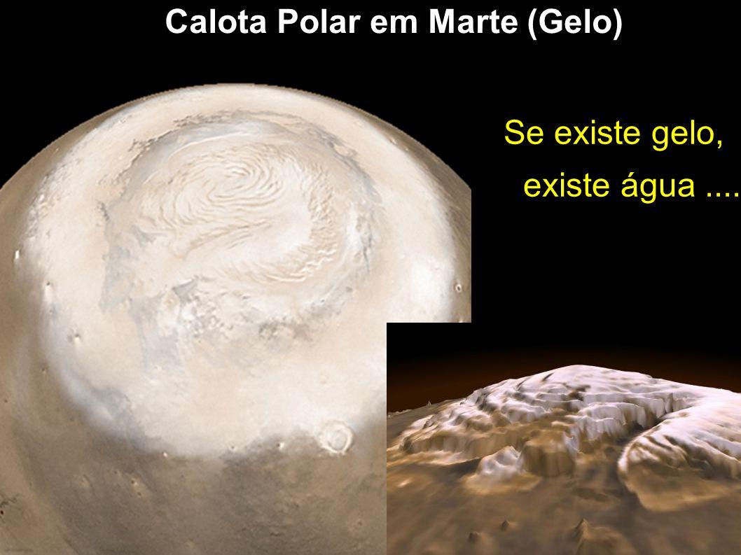 Calota Polar em Marte (Gelo) Se existe gelo, existe água....