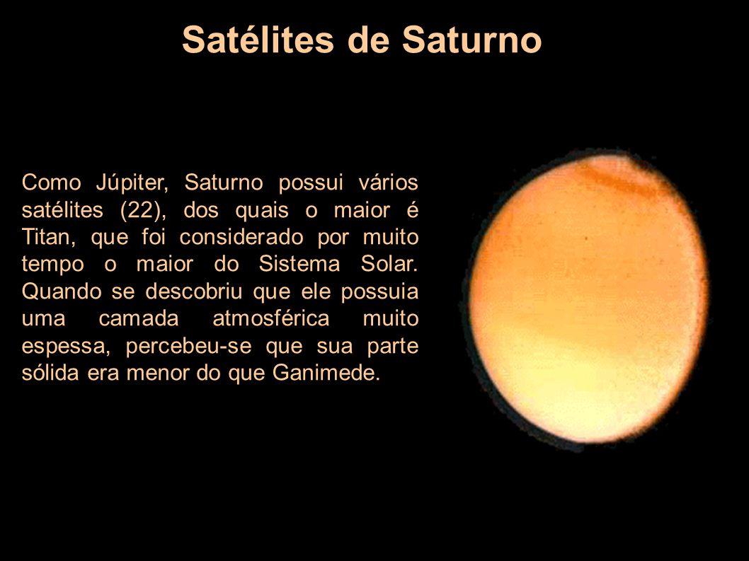 Satélites de Saturno Como Júpiter, Saturno possui vários satélites (22), dos quais o maior é Titan, que foi considerado por muito tempo o maior do Sis