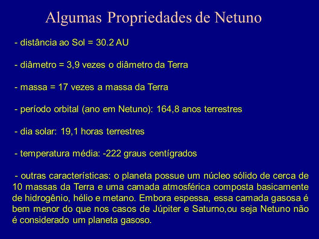 - distância ao Sol = 30.2 AU - diâmetro = 3,9 vezes o diâmetro da Terra - massa = 17 vezes a massa da Terra - período orbital (ano em Netuno): 164,8 a
