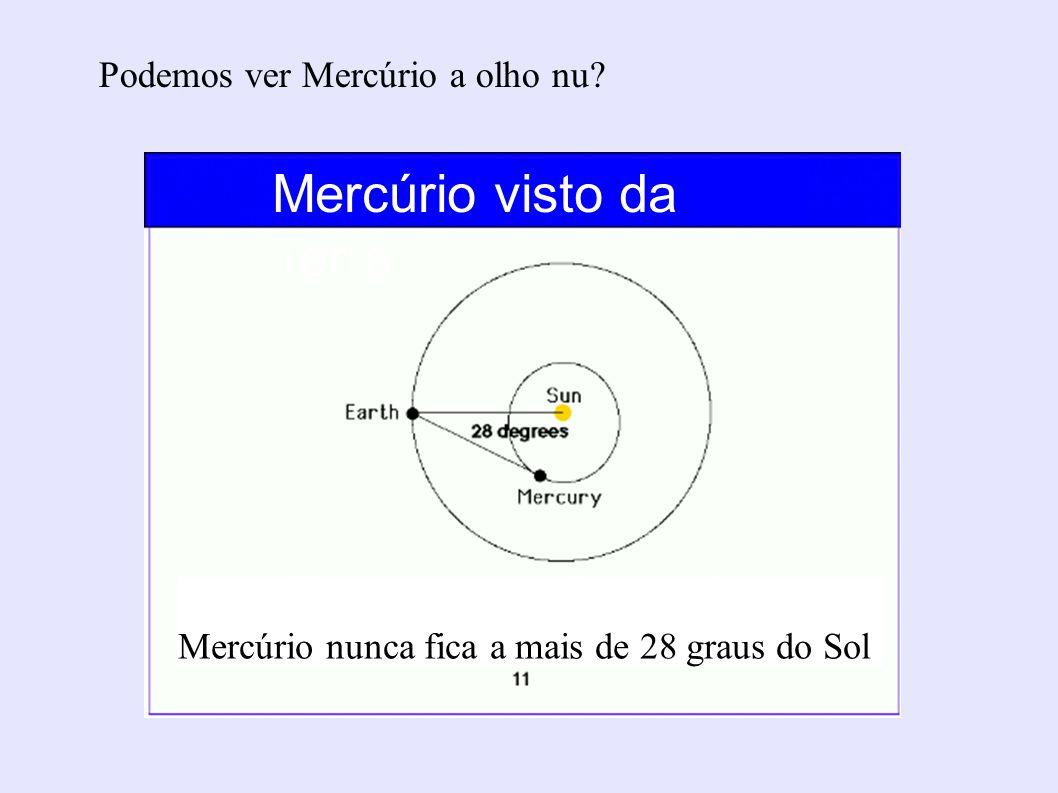 Podemos ver Mercúrio a olho nu? Mercúrio nunca fica a mais de 28 graus do Sol Mercúrio visto da Terra