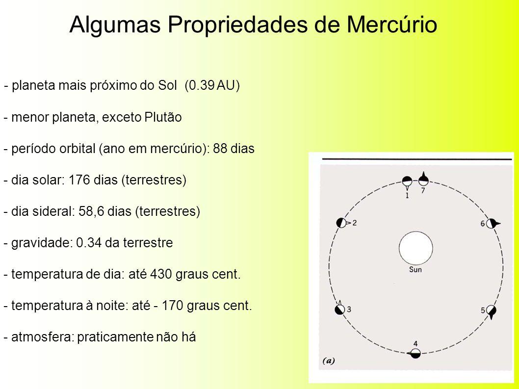 Superfície de Mercúrio: muitas crateras: sinal de intenso bombardeio nos primórdios do Sistema Solar.