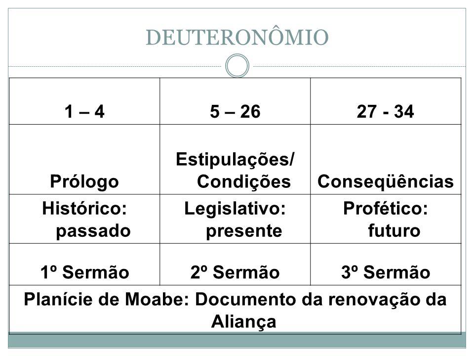 DEUTERONÔMIO 1 – 45 – 2627 - 34 Prólogo Estipulações/ CondiçõesConseqüências Histórico: passado Legislativo: presente Profético: futuro 1º Sermão2º Se
