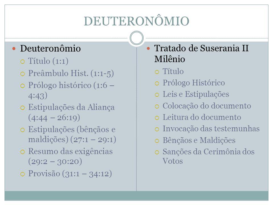 DEUTERONÔMIO  Deuteronômio  Título (1:1)  Preâmbulo Hist. (1:1-5)  Prólogo histórico (1:6 – 4:43)  Estipulações da Aliança (4:44 – 26:19)  Estip
