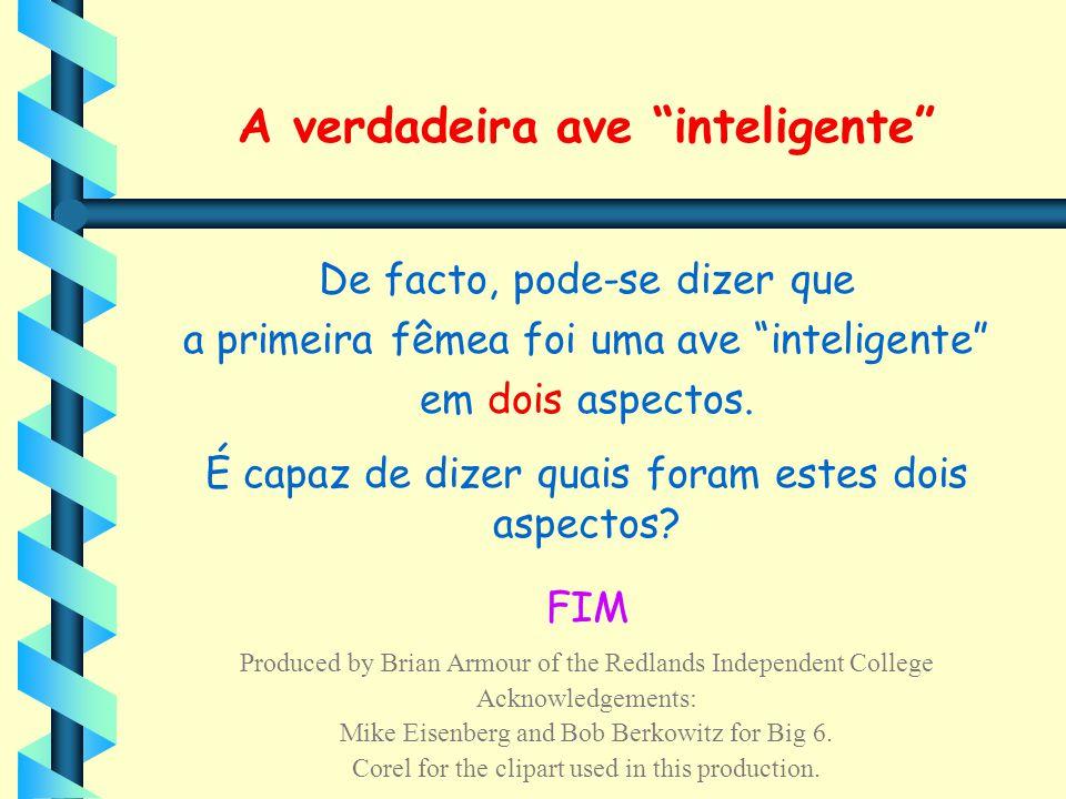 """A verdadeira ave """"inteligente"""" De facto, pode-se dizer que a primeira fêmea foi uma ave """"inteligente"""" em dois aspectos. É capaz de dizer quais foram e"""