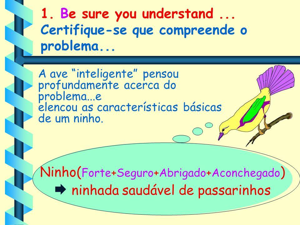 1. Be sure you understand... Certifique-se que compreende o problema... Ninho( Forte+Seguro+Abrigado+Aconchegado )  ninhada saudável de passarinhos A