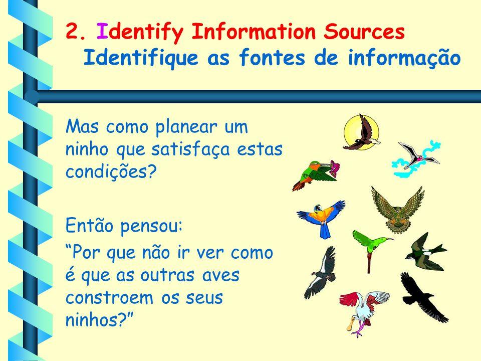 """2. Identify Information Sources Identifique as fontes de informação Mas como planear um ninho que satisfaça estas condições? Então pensou: """"Por que nã"""