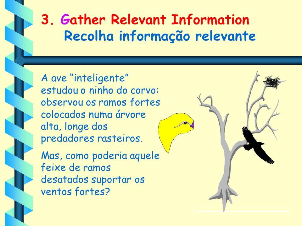 """3. Gather Relevant Information Recolha informação relevante A ave """"inteligente"""" estudou o ninho do corvo: observou os ramos fortes colocados numa árvo"""