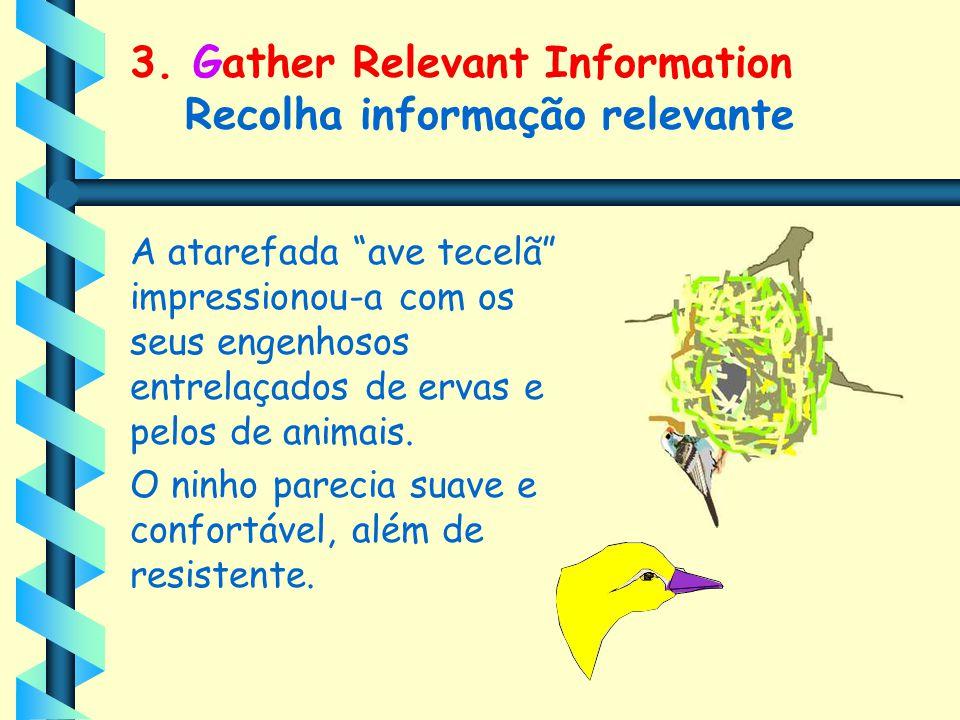 """3. Gather Relevant Information Recolha informação relevante A atarefada """"ave tecelã"""" impressionou-a com os seus engenhosos entrelaçados de ervas e pel"""