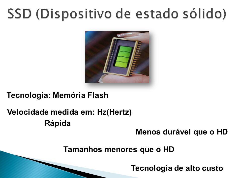 Tecnologia: Memória Flash Rápida Velocidade medida em: Hz(Hertz) Tecnologia de alto custo Menos durável que o HD Tamanhos menores que o HD