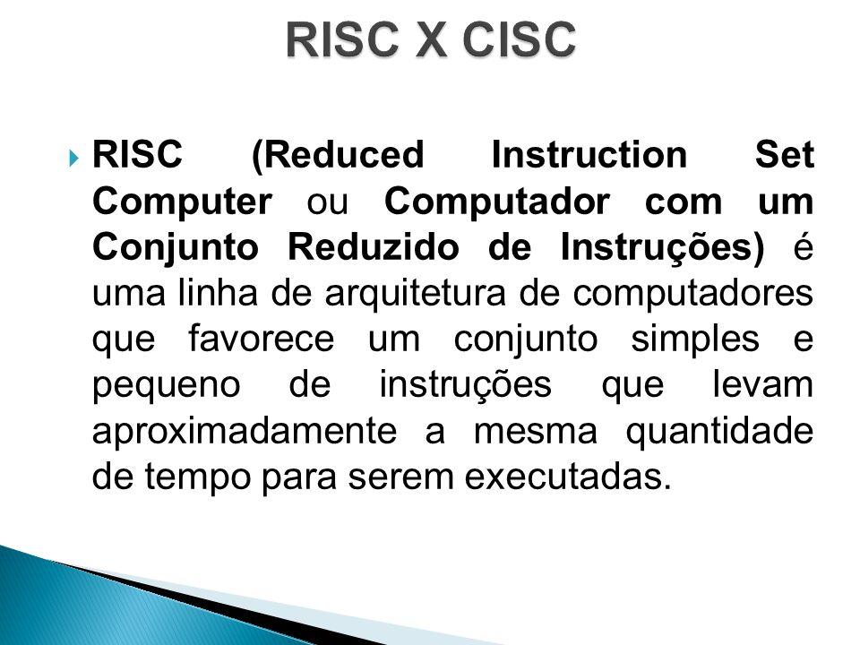  RISC (Reduced Instruction Set Computer ou Computador com um Conjunto Reduzido de Instruções) é uma linha de arquitetura de computadores que favorece um conjunto simples e pequeno de instruções que levam aproximadamente a mesma quantidade de tempo para serem executadas.
