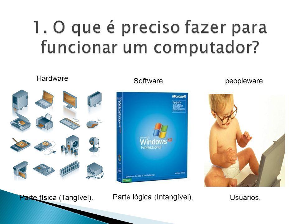 Hardware Parte física (Tangível). Softwarepeopleware Usuários. Parte lógica (Intangível).