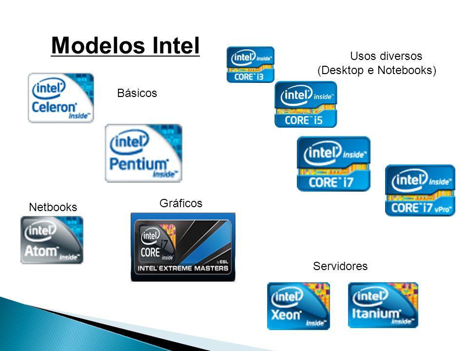 Básicos Usos diversos (Desktop e Notebooks) Netbooks Gráficos Servidores Modelos Intel