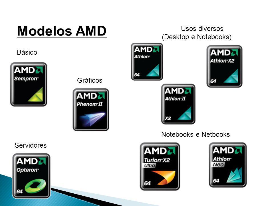 Modelos AMD Básico Usos diversos (Desktop e Notebooks) Notebooks e Netbooks Gráficos Servidores