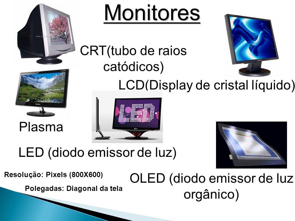 Monitores CRT(tubo de raios catódicos) LCD(Display de cristal líquido) Plasma LED (diodo emissor de luz) OLED (diodo emissor de luz orgânico) Resolução: Pixels (800X600) Polegadas: Diagonal da tela