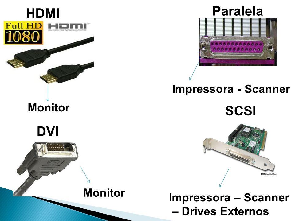 HDMI DVI Monitor SCSI Paralela Impressora - Scanner Impressora – Scanner – Drives Externos
