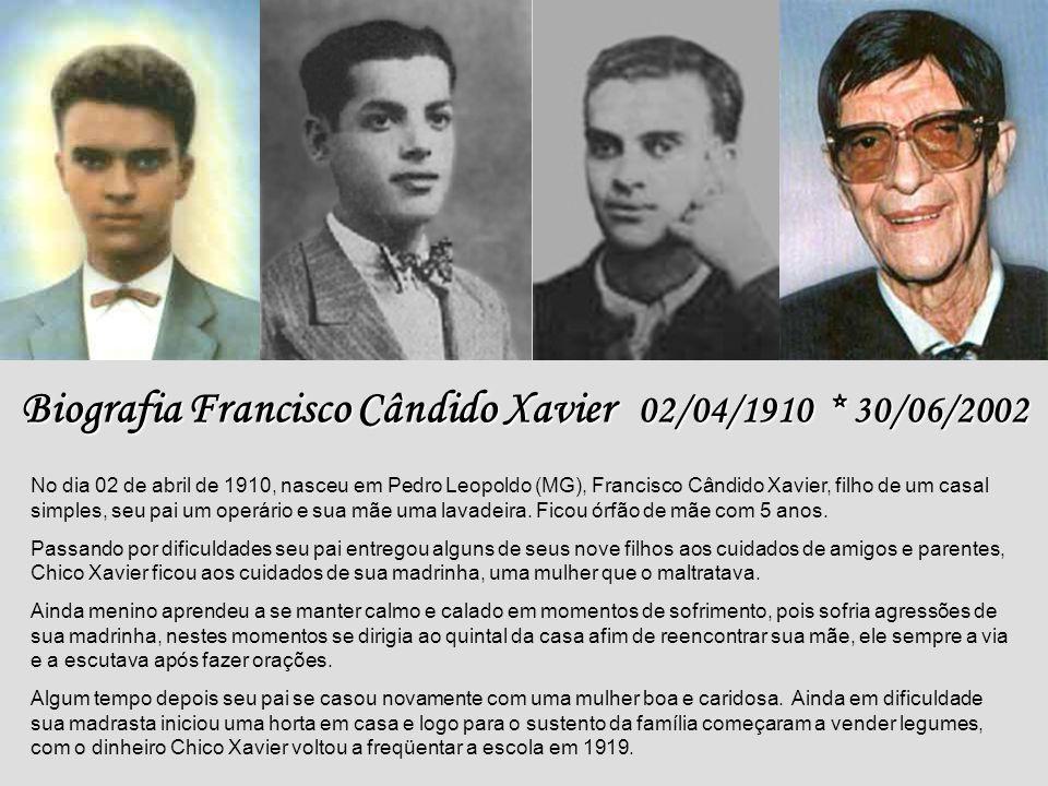 Francisco Cândido Xavier 02/04/1910 02/04/1910 30/06/2002 30/06/2002