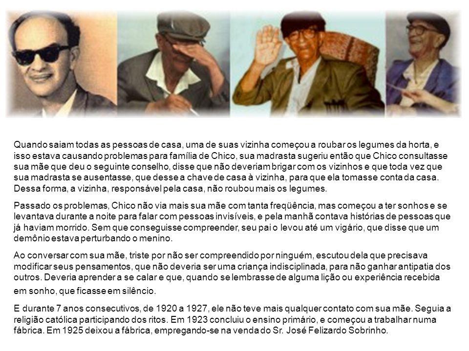 Biografia Francisco Cândido Xavier 02/04/1910 * 30/06/2002 No dia 02 de abril de 1910, nasceu em Pedro Leopoldo (MG), Francisco Cândido Xavier, filho