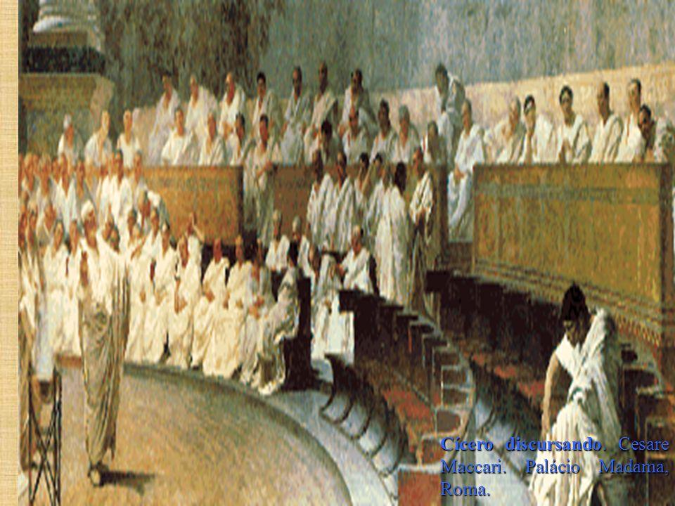Cícero discursando. Cesare Maccari. Palácio Madama, Roma.