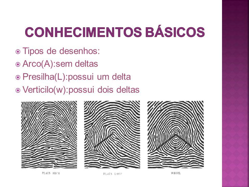  Tipos de desenhos:  Arco(A):sem deltas  Presilha(L):possui um delta  Verticilo(w):possui dois deltas