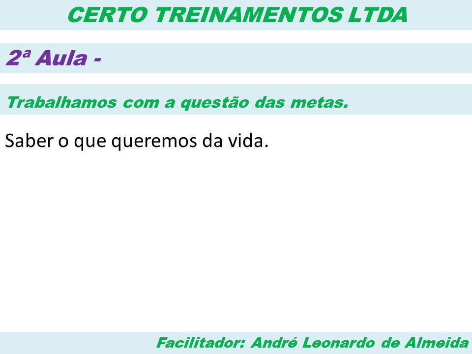Facilitador: André Leonardo de Almeida CERTO TREINAMENTOS LTDA 3ª Aula - Marketing Pessoal Como as outras pessoas nos analisam.