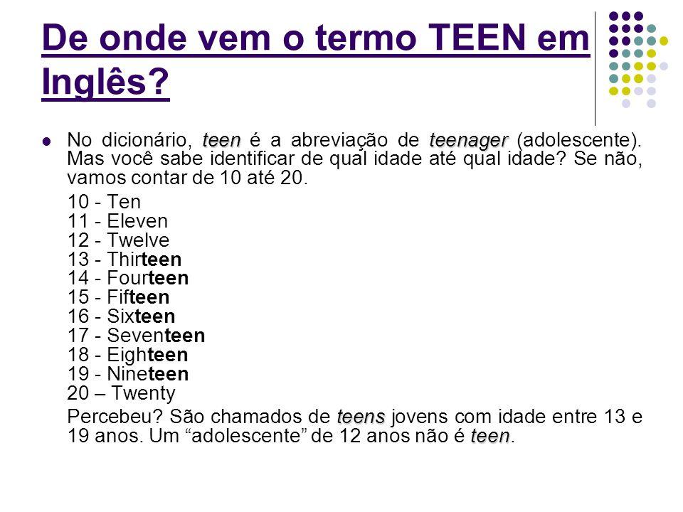 De onde vem o termo TEEN em Inglês? teenteenager  No dicionário, teen é a abreviação de teenager (adolescente). Mas você sabe identificar de qual ida