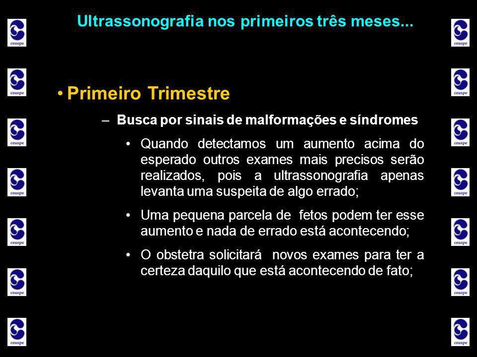 Ultrassonografia nos primeiros três meses... •Primeiro Trimestre –Busca por sinais de malformações e síndromes •Quando detectamos um aumento acima do