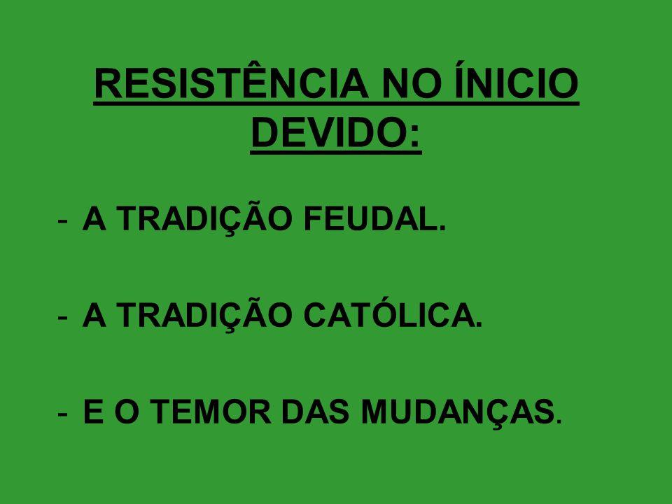 RESISTÊNCIA NO ÍNICIO DEVIDO: -A TRADIÇÃO FEUDAL. -A TRADIÇÃO CATÓLICA. -E O TEMOR DAS MUDANÇAS.
