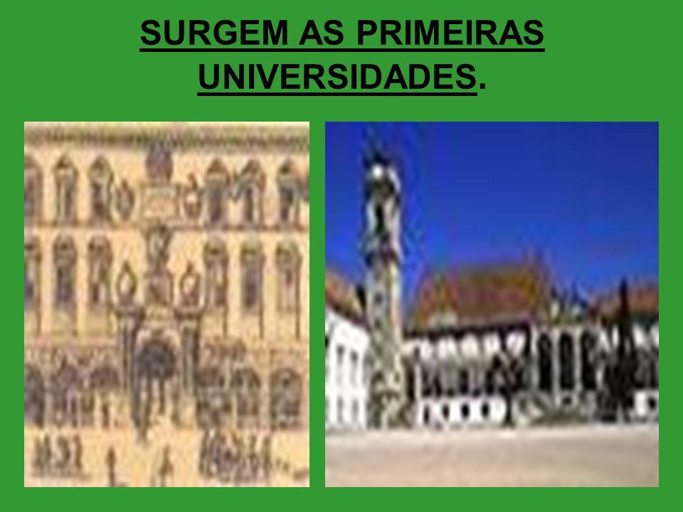 SURGEM AS PRIMEIRAS UNIVERSIDADES.