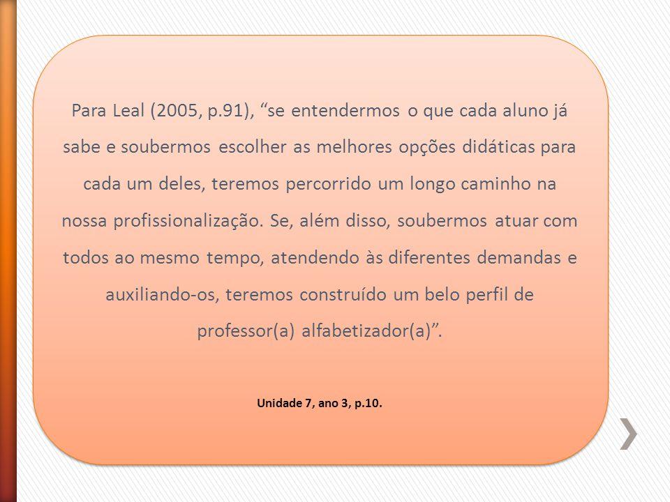"""Para Leal (2005, p.91), """"se entendermos o que cada aluno já sabe e soubermos escolher as melhores opções didáticas para cada um deles, teremos percorr"""