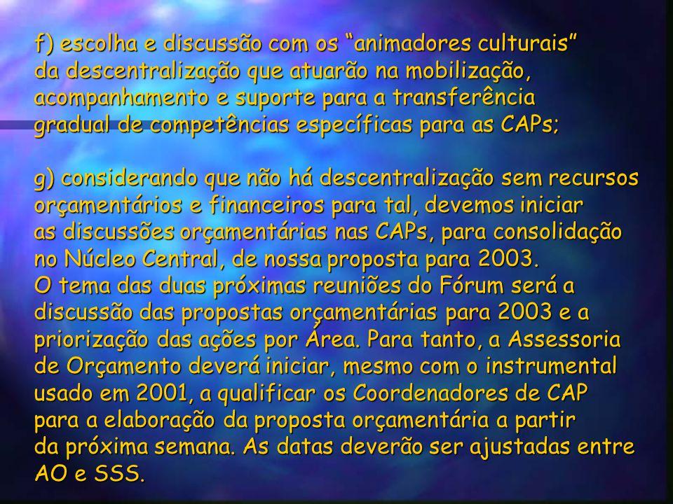 """f) escolha e discussão com os """"animadores culturais"""" da descentralização que atuarão na mobilização, acompanhamento e suporte para a transferência gra"""
