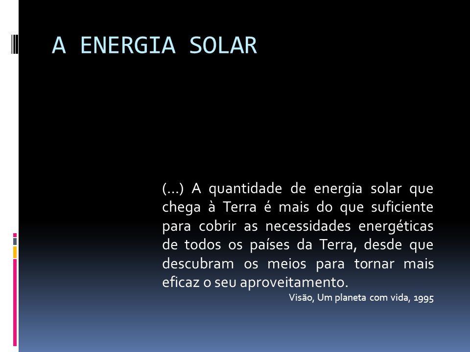 A ENERGIA SOLAR (…) A quantidade de energia solar que chega à Terra é mais do que suficiente para cobrir as necessidades energéticas de todos os paíse
