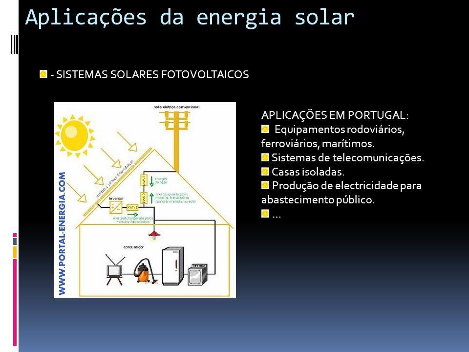 Aplicações da energia solar - SISTEMAS SOLARES FOTOVOLTAICOS APLICAÇÕES EM PORTUGAL: Equipamentos rodoviários, ferroviários, marítimos. Sistemas de te