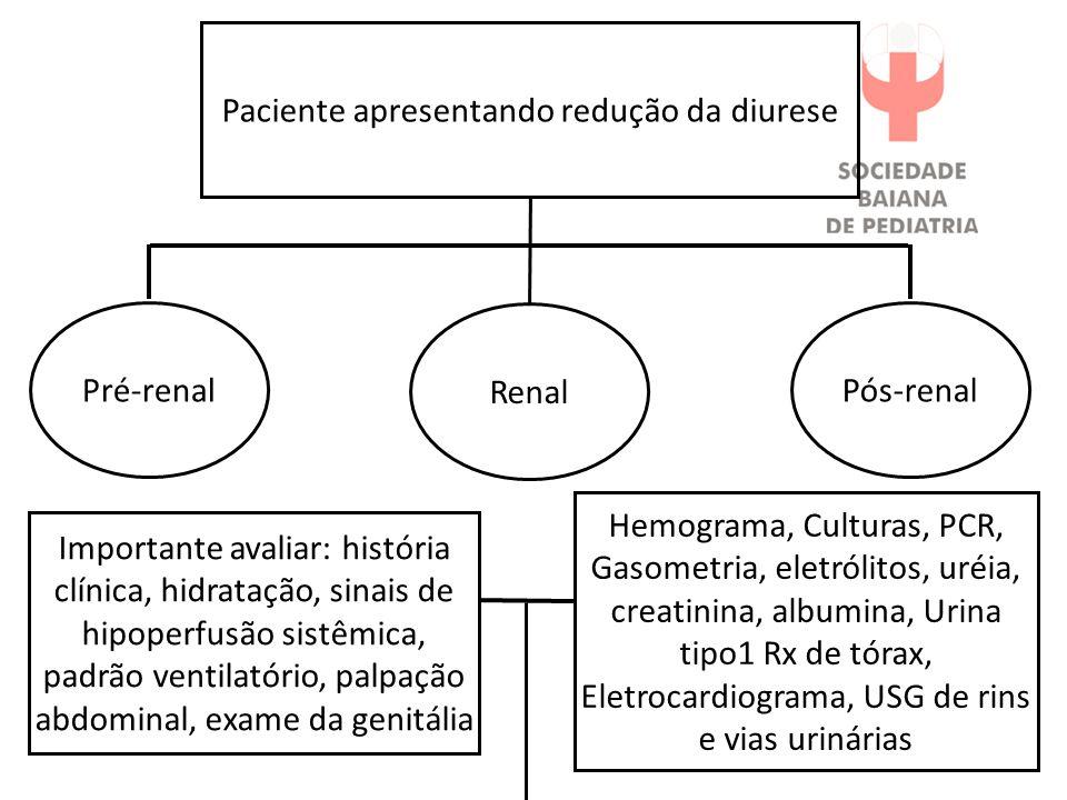 Pós-renal Hemograma, Culturas, PCR, Gasometria, eletrólitos, uréia, creatinina, albumina, Urina tipo1 Rx de tórax, Eletrocardiograma, USG de rins e vi