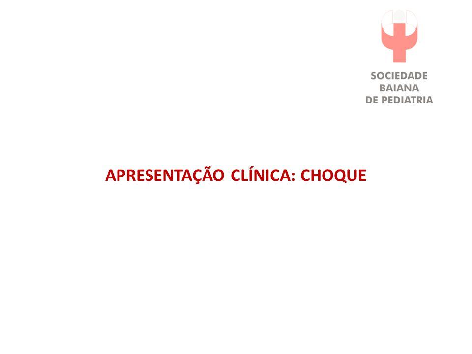 CONVULSÕES *Estabilização respiratória e cardiocirculatória *Detectar / tratar DHE e metabólicos (Glicose 10% - 2ml/Kg IV // Gluc Ca 10% 1:1 100mg/Kg IV // MgSO4 50% 0,25ml/Kg IM // NaCL 3% 1- 4ml/Kg em 15 min) *Fenobarbital (até 40mg/Kg) *Fenitoína (até 20mg/Kg) *Midazolan (até 0,4mg/Kg/h) *Piridoxina (100mg IV) *Tratar sinais de hipoperfusão (vide fluxograma de choque).