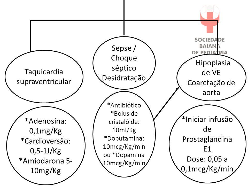 *Iniciar infusão de Prostaglandina E1 Dose: 0,05 a 0,1mcg/Kg/min *Adenosina: 0,1mg/Kg *Cardioversão: 0,5-1J/Kg *Amiodarona 5- 10mg/Kg *Antibiótico *Bo