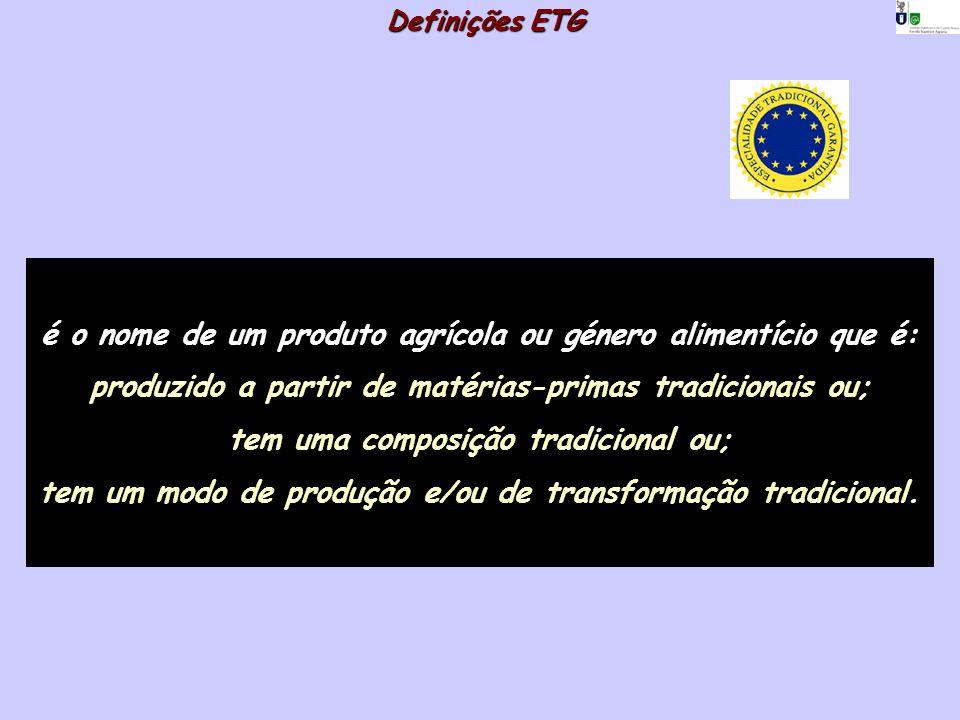 Definições ETG é o nome de um produto agrícola ou género alimentício que é: produzido a partir de matérias-primas tradicionais ou; tem uma composição
