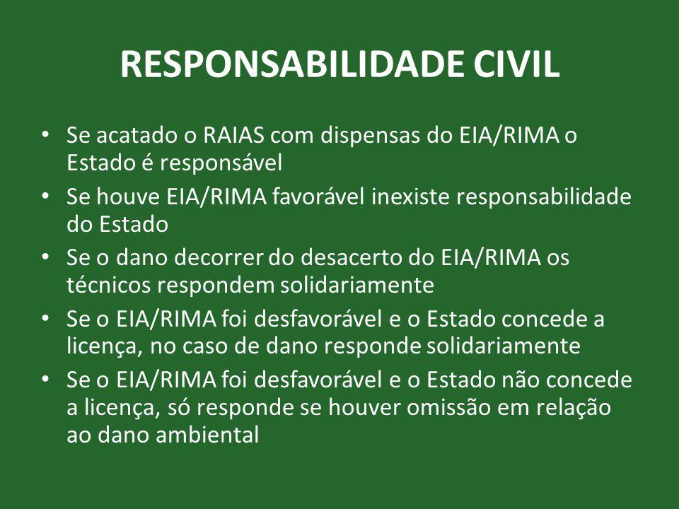 RESPONSABILIDADE CIVIL • Se acatado o RAIAS com dispensas do EIA/RIMA o Estado é responsável • Se houve EIA/RIMA favorável inexiste responsabilidade d