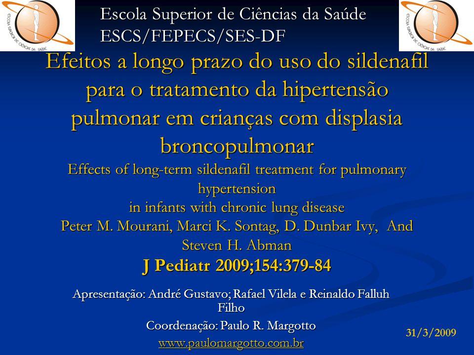 Conclusão   O artigo sugere que a terapia prolongada com Sildenafil é bem tolerada, segura e efetiva em crianças com hipertensão pulmonar e doenças pulmonares crônicas.