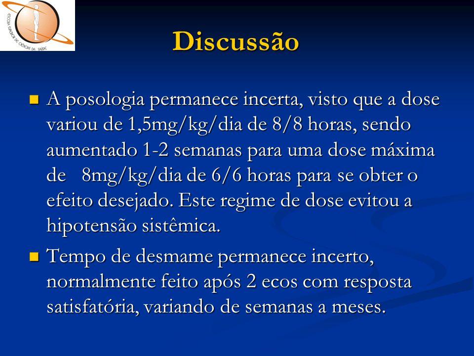 Discussão  A posologia permanece incerta, visto que a dose variou de 1,5mg/kg/dia de 8/8 horas, sendo aumentado 1-2 semanas para uma dose máxima de 8