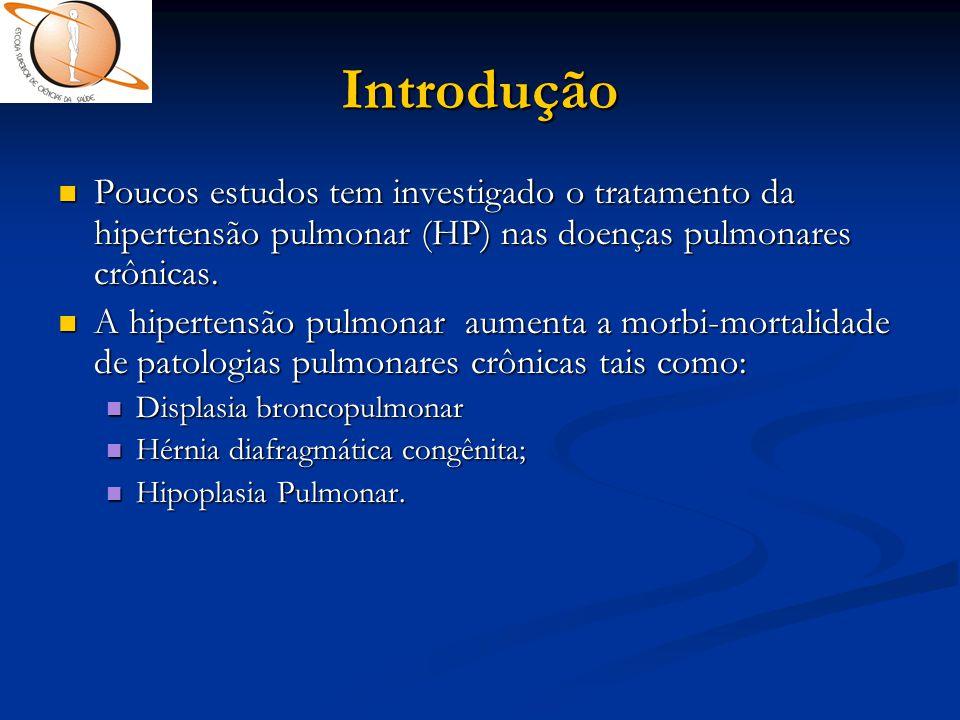 Introdução  Poucos estudos tem investigado o tratamento da hipertensão pulmonar (HP) nas doenças pulmonares crônicas.  A hipertensão pulmonar aument