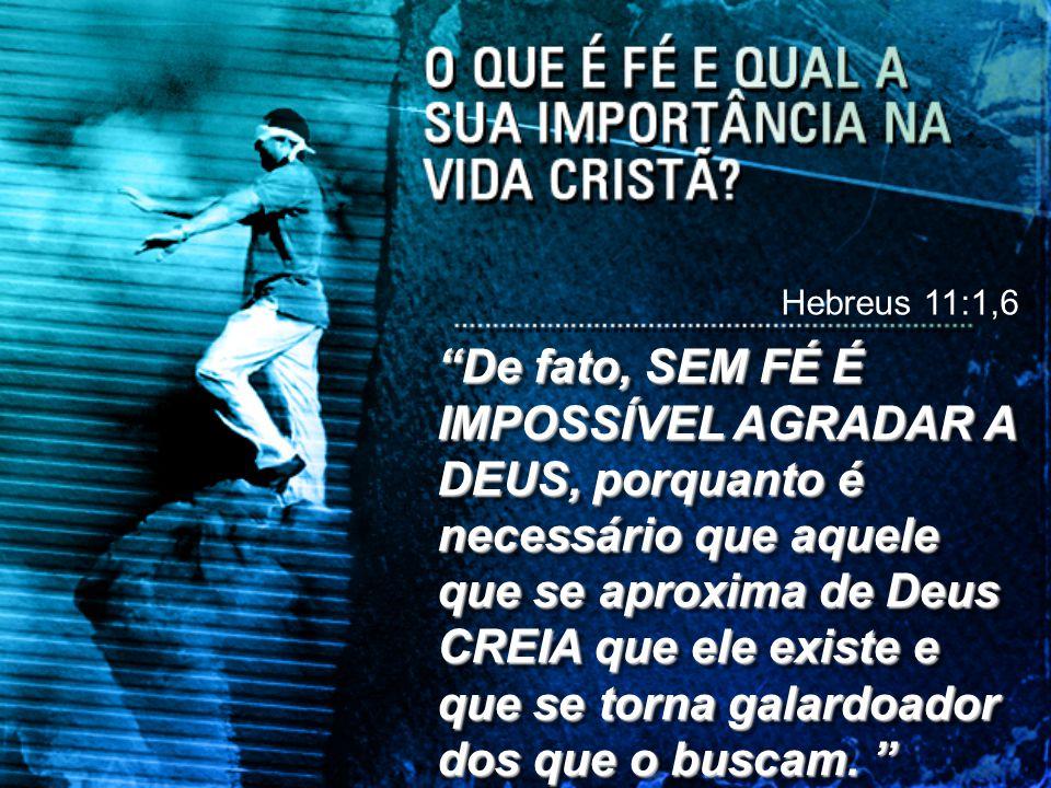 """""""De fato, SEM FÉ É IMPOSSÍVEL AGRADAR A DEUS, porquanto é necessário que aquele que se aproxima de Deus CREIA que ele existe e que se torna galardoado"""