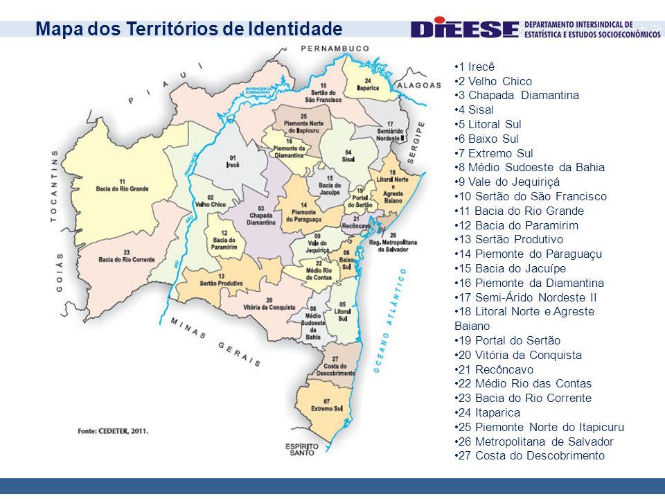 •1 Irecê •2 Velho Chico •3 Chapada Diamantina •4 Sisal •5 Litoral Sul •6 Baixo Sul •7 Extremo Sul •8 Médio Sudoeste da Bahia •9 Vale do Jequiriçá •10
