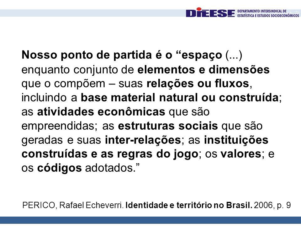 """PERICO, Rafael Echeverri. Identidade e território no Brasil. 2006, p. 9 Nosso ponto de partida é o """"espaço (...) enquanto conjunto de elementos e dime"""