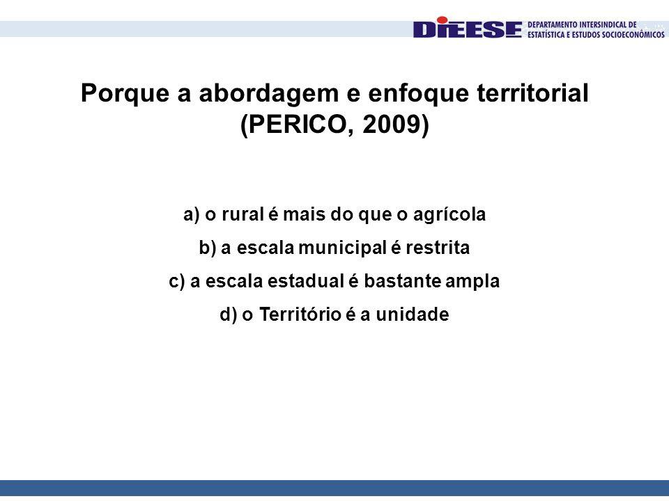 Porque a abordagem e enfoque territorial (PERICO, 2009) a) o rural é mais do que o agrícola b) a escala municipal é restrita c) a escala estadual é ba