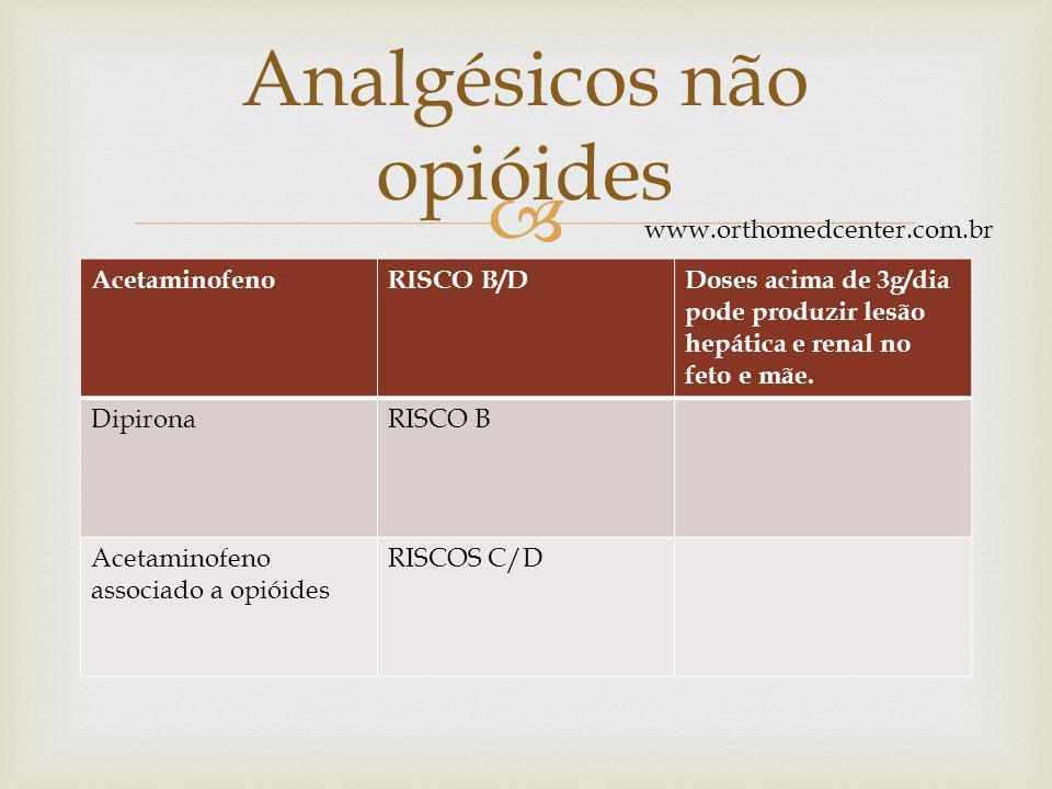  AcetaminofenoRISCO B/DDoses acima de 3g/dia pode produzir lesão hepática e renal no feto e mãe.