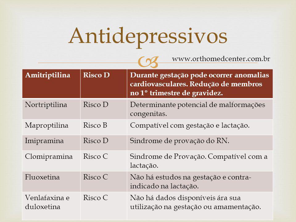  AmitriptilinaRisco DDurante gestação pode ocorrer anomalias cardiovasculares.