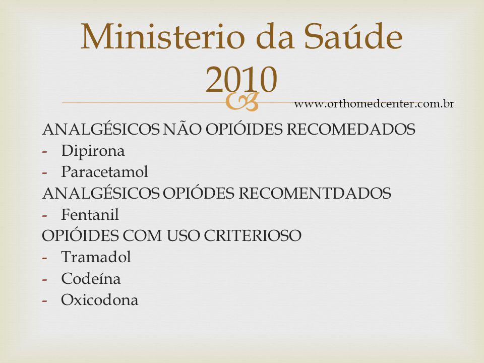  ANALGÉSICOS NÃO OPIÓIDES RECOMEDADOS -Dipirona -Paracetamol ANALGÉSICOS OPIÓDES RECOMENTDADOS -Fentanil OPIÓIDES COM USO CRITERIOSO -Tramadol -Codeína -Oxicodona Ministerio da Saúde 2010 www.orthomedcenter.com.br