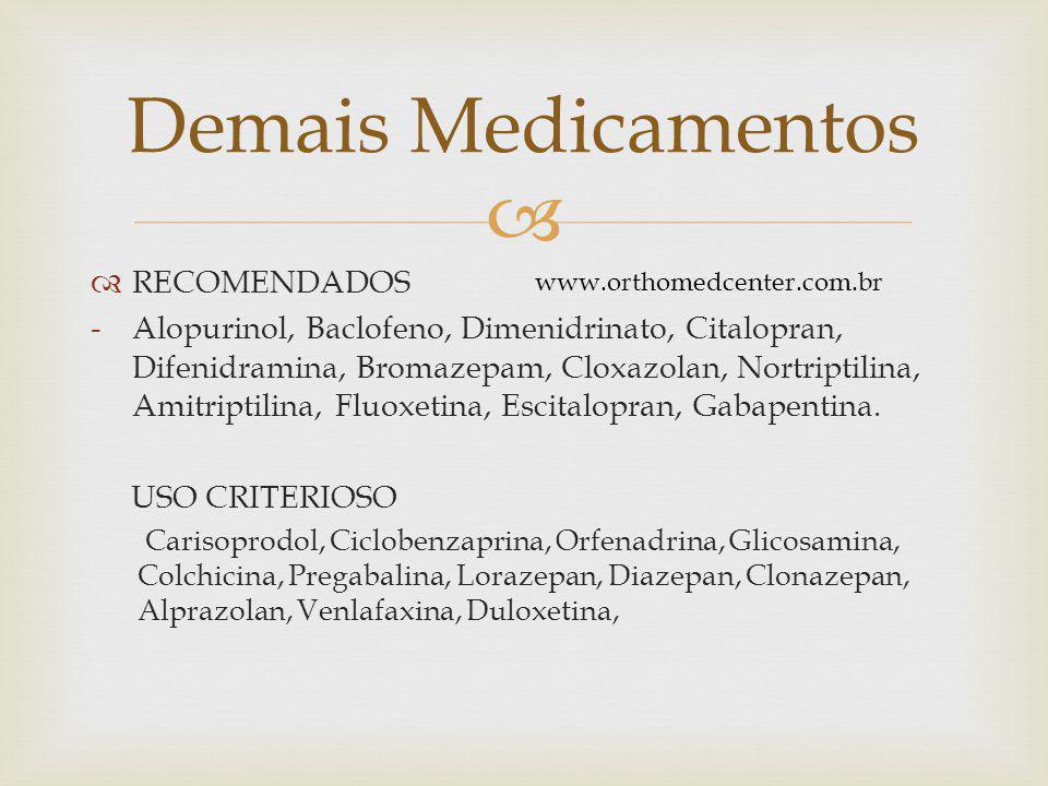   RECOMENDADOS -Alopurinol, Baclofeno, Dimenidrinato, Citalopran, Difenidramina, Bromazepam, Cloxazolan, Nortriptilina, Amitriptilina, Fluoxetina, Escitalopran, Gabapentina.